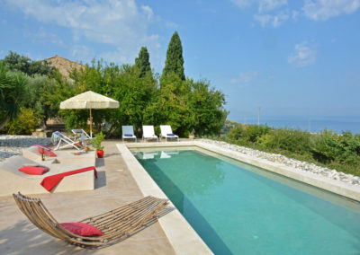 Luxury villa in Sicily sun loungers