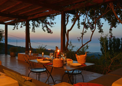 Luxury villa in Sicily terrace and view night