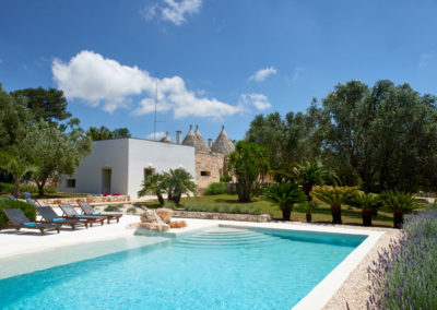 Trulli Puglia with pool blue sky